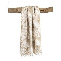 Plaid en coton 130x150 cm imprimé blanc et beige - BAHAMA