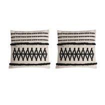 Lot de 2 coussins 40x40 cm en tissu coton écru et noir