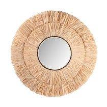 Miroir rond 77 cm en raphia naturel