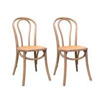 Lot de 2 chaises bistrot 40x40x90 cm en cannage et orme gris