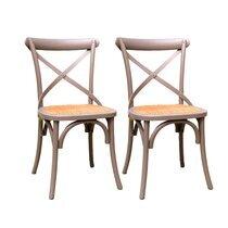 Lot de 2 chaises bistrot 45x42x87 cm en cannage et orme gris