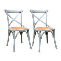 Lot de 2 chaises bistrot 45x42x87 cm en cannage et orme vert clair