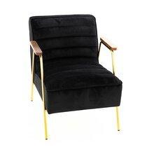 Fauteuil 60x76x73 cm en tissu velours noir et métal