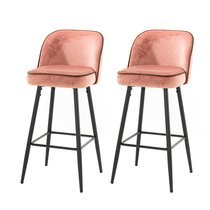 Lot de 2 chaises de bar 47x56x103 cm en velours rose - HASLET