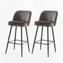 Lot de 2 chaises de bar 47x56x103 cm en velours gris foncé - HASLET