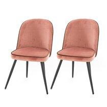 Lot de 2 chaises repas 60,5x58x82,5 cm en velours rose - HASLET