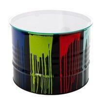 Table basse tonneau en verre et métal multicolore - TONNO