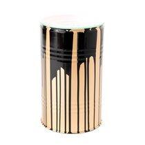 Table d'appoint tonneau en verre et métal noir et doré - TONNO