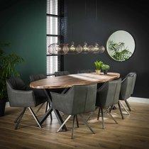 Table à manger ovale 240x105x77 cm en noyer et métal