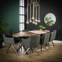 Table à manger ovale 270x110x77 cm en noyer et métal