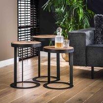 Lot de 3 tables rondes 35 cm en bois recyclé et métal - GLADYZ