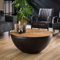 Table basse ronde 90x40 cm en bois recyclé et métal - GLADYZ