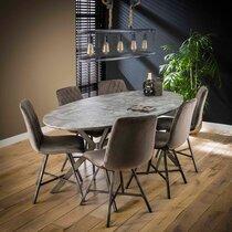 Table à manger ovale 200x100x76 cm décor effet béton