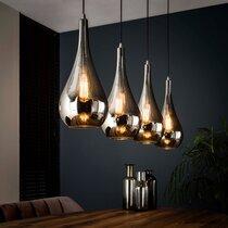 Suspension 4 lampes 130x20x150 cm en verre chromé et métal