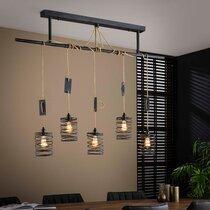 Suspension 5 lampes spirales 150x14x150 cm en métal gris