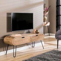 Meuble TV 2 tiroirs 135x35x50 cm en manguier et métal