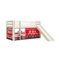 Lit surélevé avec toboggan blanc décor camion de pompier - PINO