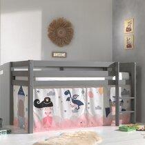 Lit surélevé avec échelle gris décor magique rose - PINO