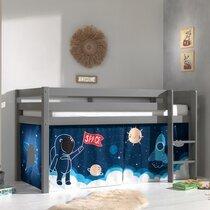 Lit surélevé avec échelle gris décor astronaute - PINO