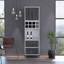 Meuble bar 1 porte 2 tiroirs 50x38x175 cm blanc et gris foncé - PIMLY