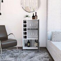 Meuble bar 2 portes 56,2x41x107 cm blanc et gris foncé - PIMLY
