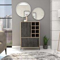 Meuble bar 2 portes 63,5x34x91,4 cm chêne et gris foncé - PIXON