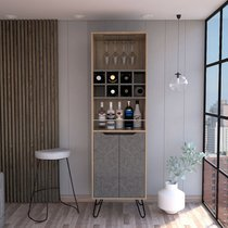 Meuble bar 1 porte chêne et gris foncé - WANGLE
