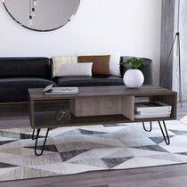 Table basse 101,1x45x40 cm marron et chêne grisé - WOTAY