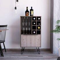 Meuble bar 3 portes 59,6x40x109,4 cm marron et chêne grisé - WOTAY