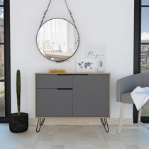 Buffet 2 portes et 1 tiroir 99,2x39x80 cm chêne et gris - SKODE