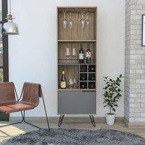 Meuble bar 1 porte 59,7x39x180 cm chêne et gris - SKODE
