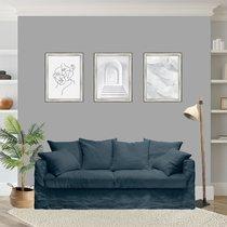 Canapé 4 places fixe en tissu lin bleu ardoise - PERUGIA