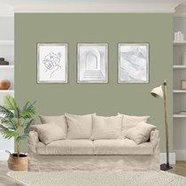 Canapé 4 places fixe en tissu lin beige - PERUGIA