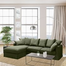 Canapé d'angle à gauche en tissu lin vert - PERUGIA
