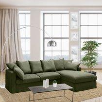 Canapé d'angle à droite en tissu lin vert - PERUGIA