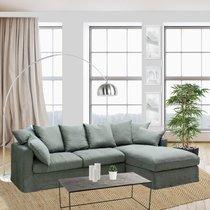 Canapé d'angle à droite en tissu lin kaki - PERUGIA