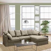 Canapé d'angle à droite en tissu lin beige - PERUGIA