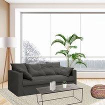 Canapé 4 places fixe en tissu coton anthracite - LARIA