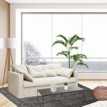 Canapé 4 places fixe en tissu coton écru - LARIA