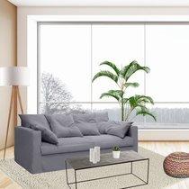 Canapé 4 places fixe en tissu coton gris clair - LARIA