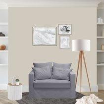 Fauteuil en tissu coton gris clair - LARIA