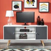 Meuble TV 2 portes 116x39,5x53,5 cm blanc et gris - GAWAN