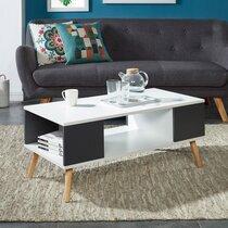 Table basse 90x45x38,7 cm blanche et grise - GAWAN
