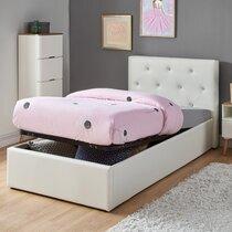 Lit avec coffre 90x190 cm blanc avec tête de lit capitonnée
