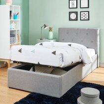 Lit avec coffre 90x190 cm gris avec tête de lit capitonnée