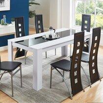 Ensemble repas table 180 cm blanche avec 6 chaises noires