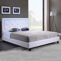 Lit 160x200 cm avec tête de lit capitonnée blanche et LED