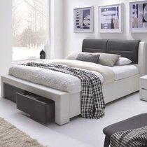 Lit avec rangements 180x200 cm en PU blanc et noir