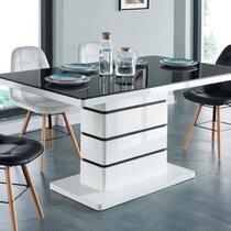 Table à manger 150x90x75 cm en verre noir et blanc