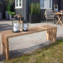 Banc de jardin 140x35x45 cm en teck naturel